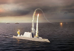 An artist rendering of the Zumwalt class destr...