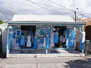 Blue and white clothes shop Guadeloupe 2010-03-27