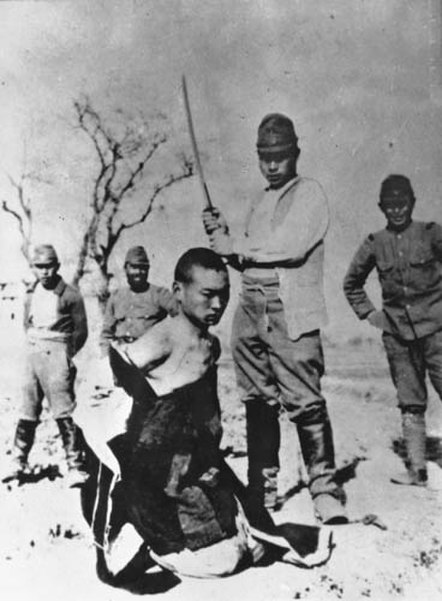 File:Chinese to be beheaded in Nanking Massacre.jpg