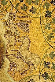 Alleged representation of Christ in the form of the sun-god Helios or Sol Invictus riding in his chariot. Third century mosaic of the Vatican grottoes under St. Peter's Basilica, on the ceiling of the tomb of the Julii.