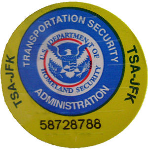 self destroying sticker seal of the TSA, stick...