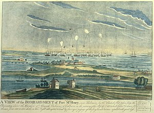 "The caption reads ""A VIEW of the BOMBARDM..."