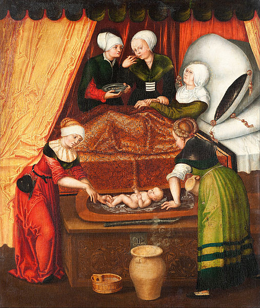 File:Lucas Cranach the Elder, his studio? - The Birth of John the Baptist - Google Art Project.jpg
