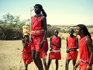 English: Maasai warriors jumping