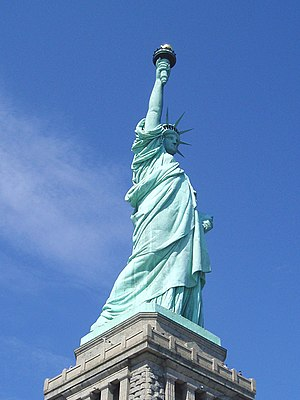 The Statue of Liberty, a popular icon of freedom.