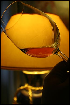 A glass of the Italian dessert wine Marsala fr...