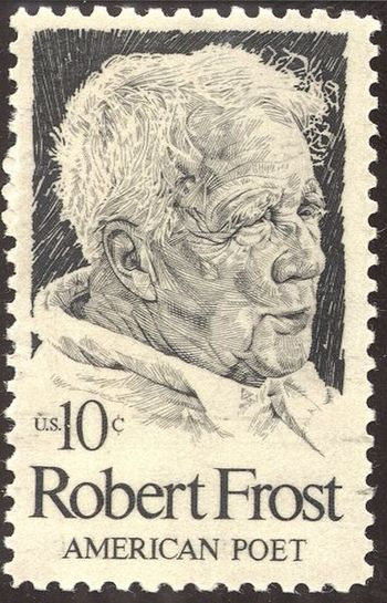 A U.S stamp with the picture of the poet Rober...