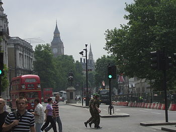 English: The Palace of Westminster from Whitehall.