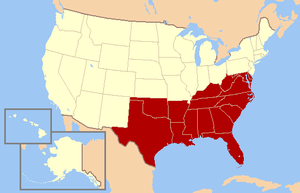 English: The southern United States, as define...