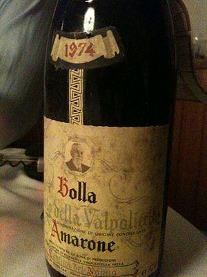 A bottle of the Italian wine Amarone della Val...
