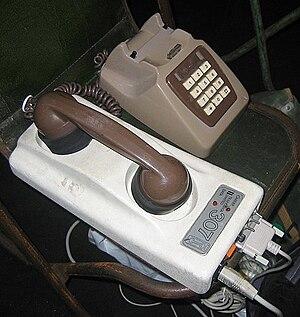 An acoussic coupler modem.