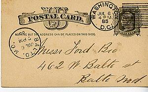 English: Postal card mailed from Washington, D...