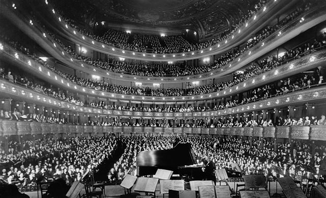 A quick gander at the audience from the stage at the Metropolitan Opera.