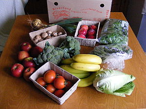 The contents of a fruit and vegetable box from...