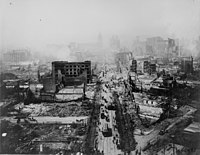 Smoldering after the 1906 San Francisco earthquake.