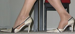 A pair of high-heeled shoes.