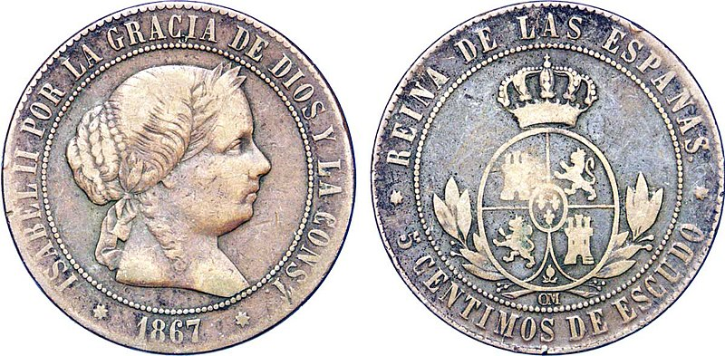 File:5 Centimos de Escudo à l'effigie de la reine Isabelle II.jpg