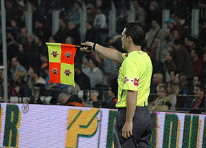 Assistant referee during the match FC Barcelon...