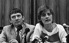 Petra Kelly and Otto Schily after the West German federal election 1983