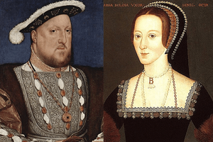 English: Henry VIII and his second wife, Anne ...