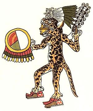 Aztec jaguar warrior, tlahuahuanque of the rit...