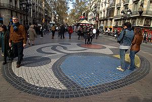 English: A mosaic by Joan Miró on the Ramblas ...