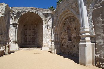 A close-up view of the ruins of Mission San Ju...