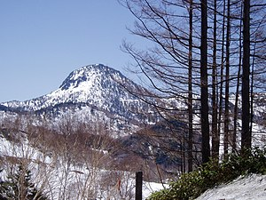 English: Mt. Kasagatake (2076m) from east, Shi...