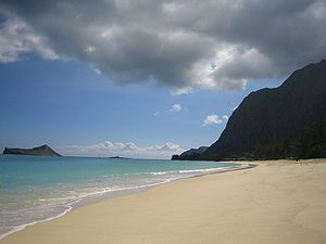Waimanalo Beach, located on the windward side ...