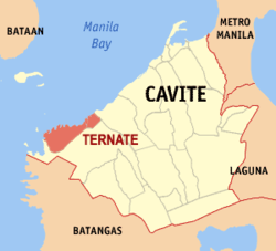 Map of Cavite showing the location of Ternate