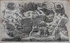 Pictorial map of Robinson Crusoe's island, pub...