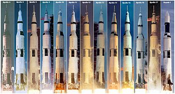 A montage of all Saturn V launches, 1967 1973.