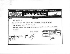 Telegram from SS Amerika via SS Titanic on loc...