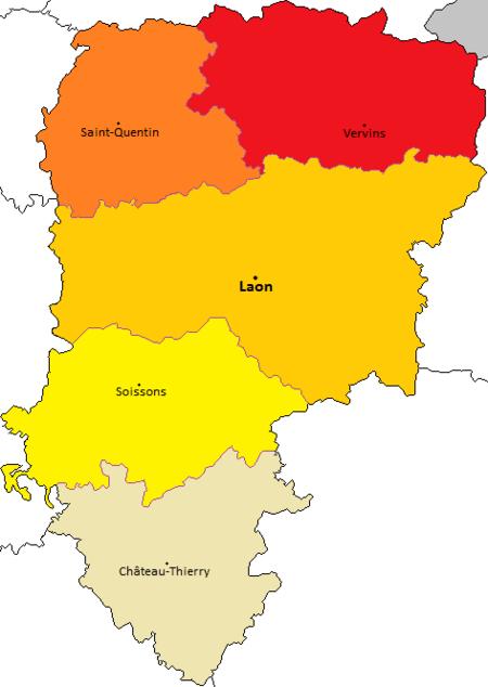 Carte des arrondissements de l'Aisne