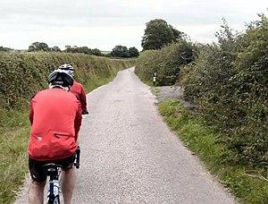 English: Cycling towards Thorverton. good leve...