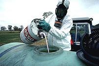 Preparing for pesticide application.