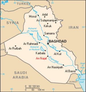 The location of Najaf (printed in red) within ...