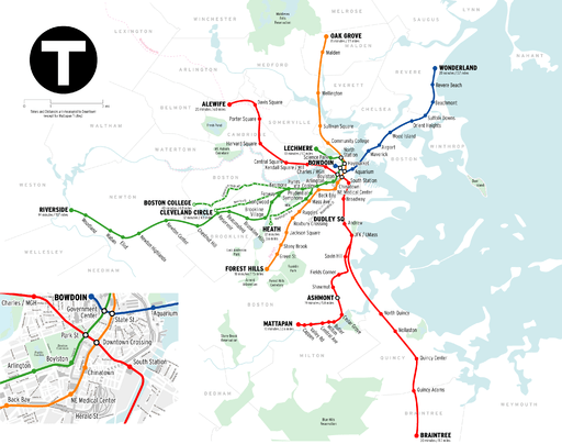 MBTA Boston subway map