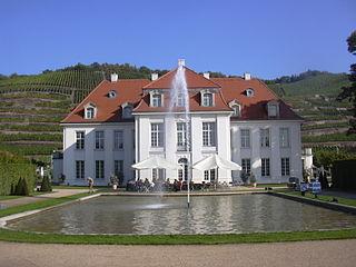 Schloss Wackerbarth an der Sächsischen Weinstraße in Radebeul
