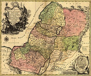 1759 map of the Holy Land and 12 tribes, showi...