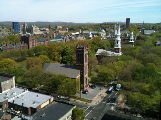 Aerial view of the junction of Chapel Street and Temple Street, New Haven, Connecticut - 20120430