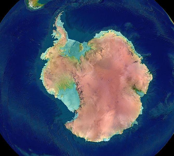 Antarctica - Colorized Relief of Elevation
