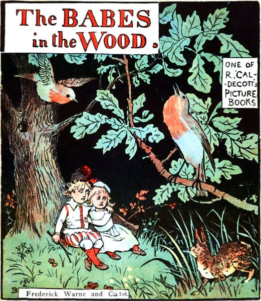 Cover of Babes in the Wood illustrated by Randolph Caldecott (1846-1886), from the Project Gutenberg EBook of The Babes in the Wood.