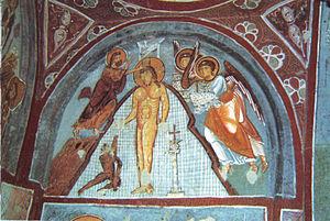 Baptism of Christ. Fresco in Cappadocia