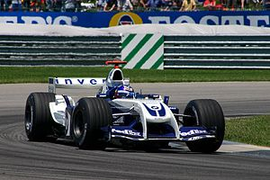 Juan Pablo Montoya driving for Williams at the...