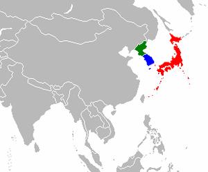 map of japan, south/north korea