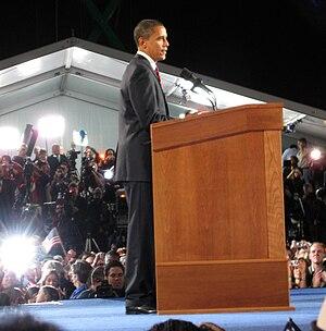 English: Barack Obama delivering his electoral...