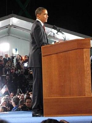 Barack Obama delivering his electoral victory ...