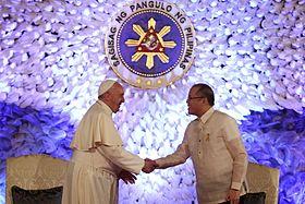 Francis and President Aquino at Malacañan, 16 January 2015