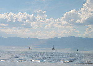 English: Boats on the Great Salt Lake, taken o...